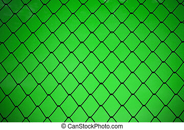 metallic net with green background