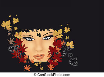 girl with leaves - illustration of a girl with leaves