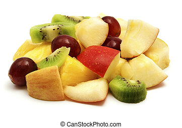 Fruit salad on a white background