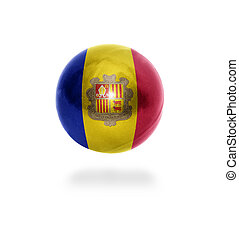 Andoran Ball - Flag of Andorra on the ball isolated on white