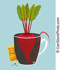 Growing Beetroot with Green Leafy Top in Mug - Vegetable...