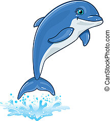 Dolphin with water spray isolated on white background-no...