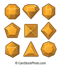 Set of Orange Gems for Match3 Games. Vector illustration