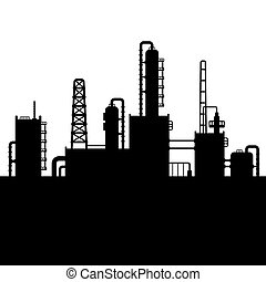 Oil Refinery Plant and Chemical Factory Silhouette 5. Vector...