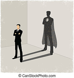 Businessman casting superhero shadow in vector