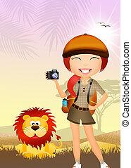 menina, faz, safari