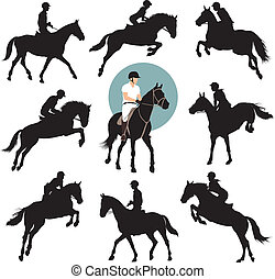 Equestrian sports - Horse and rider jumping vector...