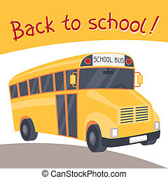 Back to school background with illustration of yellow bus