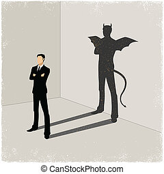 Gentleman casting shadow of evil - shadow in vector