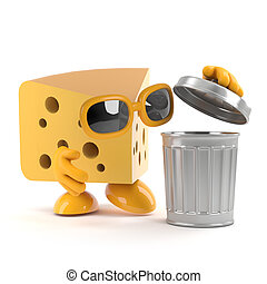 3d Cheese throws out the trash - 3d render of a cheese...
