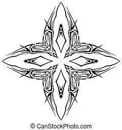Tatto shuriken - Sketch of tattoo as shuriken with four tips...