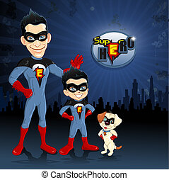 Dad son and dog superheroes - Dad son and dog superhero with...