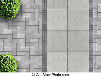 permeable paving from above - exterior detail in aerial view...