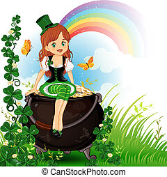 Elf girl sitting on pot of gold
