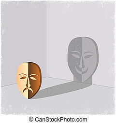 Sad mask casting shadow of happy face