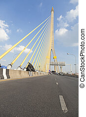 Road on the Rama VIII Bridge Daytime air sunny skies