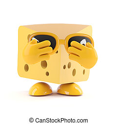 3d Cheese fear - 3d render of a cheese character hiding his...