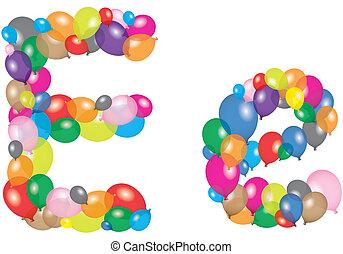 letter e like a balloon