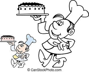 Confectioner carrying a cake