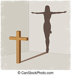 Cross casting shadow of Jesus Christ in vector