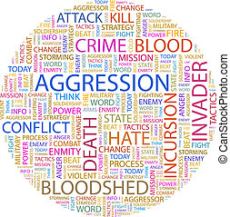 AGGRESSION. Word cloud illustration. Tag cloud concept...