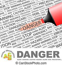 DANGER. Word cloud concept illustration. Wordcloud collage.
