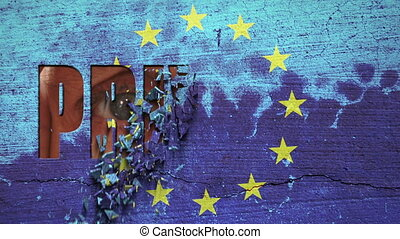Spying Eyes Crumbling Wall Europe - European Union flag...