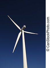 alternate - Modern white wind turbine or wind mill producing...