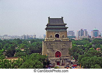 ancient Bell Tower with modern Beijing in background, China