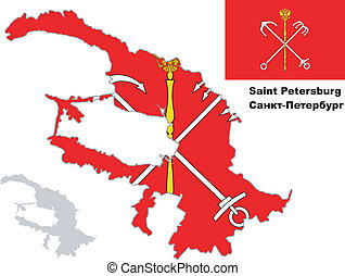 outline map of St Petersburg with flag - Outline map of St...