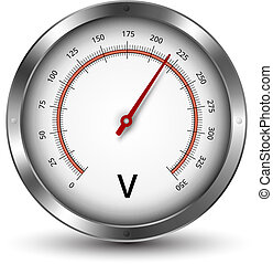 Voltmeter - Vector voltmeter metallic gauge illustration
