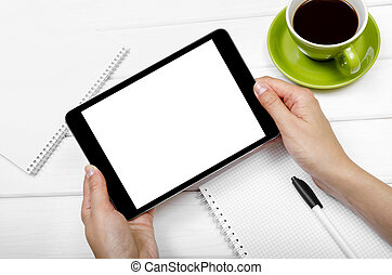 Tablet computer - Tablet with an empty screen in hands close...
