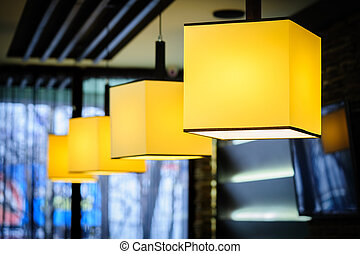 Restaurant interior - Modern restaurant interior with yellow...