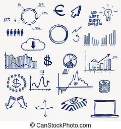 Business finance management infographics social media doodle...