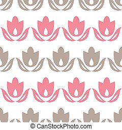 Pink and brown tulips stripes seamless pattern background -...