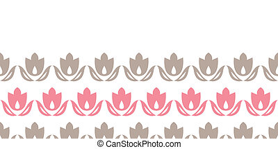 Pink and brown tulips stripes horizontal seamless pattern...