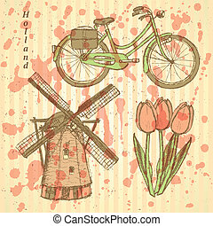Sketch Holland windmill, bicycle and tulip, vector...