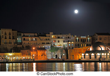 Chania city night shot with moonlight
