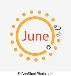 Sun symbol with June text inside