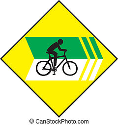 Turn Right Bicycle Sign Label - Vector of Turn Right Bicycle...