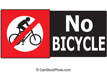 No Bicycle Sign Label