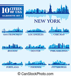 Silhouette city set of USA 1 on blue Vector illustration