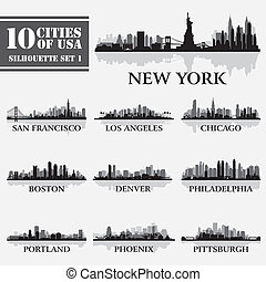 Silhouette city set of USA 1 on grey. Vector illustration