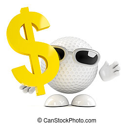 3d Golf ball dollar sign - 3d render of a golf ball with a...