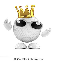 3d Golf ball king - 3d render of a golf ball wearing a gold...