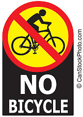 No Allow Bicycle Sign Label