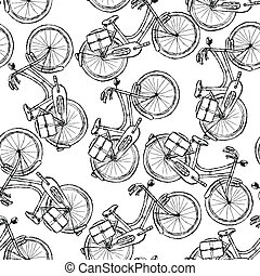 Sketch bicycle, vector vintage seamless pattern eps 10