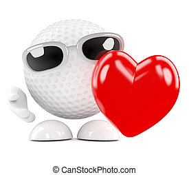 3d Golf ball love - 3d render of a golf ball holding a red...