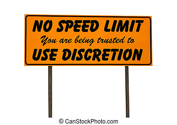 Orange Rectangle Sign with No Speed Limit - Orange road sign...