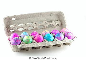 Tye Dye Easter Eggs - Easter eggs done with shaving cream...